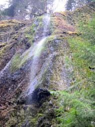 Cascading water off the side of the mountain