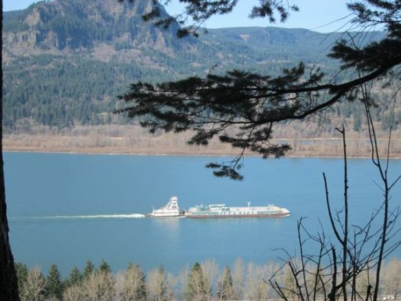 Barge going up the Columbia